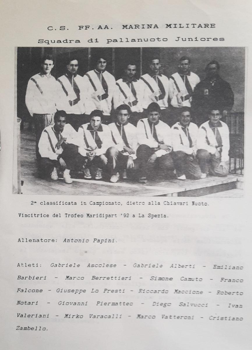 CS Marina Militare squadra pallanuoto Juniores (1992)